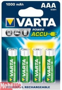 Аккумулятор Varta AAA HR03 1000mAh NiMh 4шт POWER ACCU 56763101404 Цена 1шт.