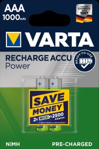 Аккумулятор Varta AAA HR03 1000mAh NiMh 2шт POWER ACCU (56763101402) Цена 1шт