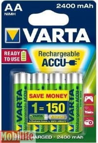 Аккумулятор Varta AA HR06 2400mAh R2U NiMh 4шт POWER ACCU 56756101404 Цена 1шт.