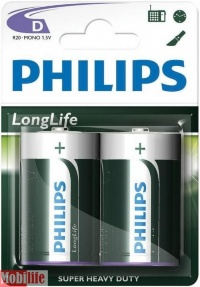 Батарейка Philips Longlife D R20-L2B 2шт Цена 1шт.