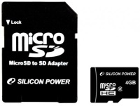 Silicon Power 4 Gb microSDHC (class 2) + SD Adapter