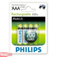 Аккумулятор Philips MultiLife Ni-MH AAA, R03 700mAh 4шт.