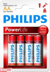 Батарейка Philips PowerLife AA LR06-P4B 4шт Цена 1шт.