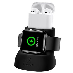 Держатель и док-станция Usams ZJ051 Dock Stand Black (ZJ51ZJ01) для Apple Watch и Apple AirPods - 561912