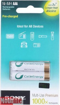 Аккумулятор Sony AAA, R03 900mAh Multi Use Premium 2шт NHAAAB2G Цена 1шт.