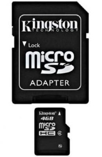 Kingston 4 GB microSDHC class 4 + SD Adapter SDC44GB